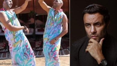 أبو الروس يظهر بفستان حريمي في كليب .. وشقيق ياسمين عبدالعزيز يسخر منه