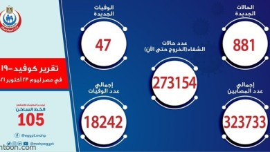"""كشفت وزارة الصحة والسكان المصرية عبر حسابها الرسمي بموقع التواصل الاجتماعي """"تويتر"""" عن خريطة"""