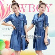 2015-new-fashion-women-denim-dresses-Half-Roll-Sleeve-Long-Denim-Dresses-smoke-banding-denim-dress-2