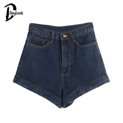 Daylook-New-Chic-Women-Deep-Blue-High-Waist-Roll-Hem-Denim-Shorts-Short-Feminine-Street-Fashion-1