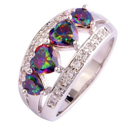 Heart-Cut-Rainbow-Topaz-925-Silver-Ring-Mysterious-Size-6-7-8-9-10-11-12-1