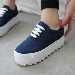 Low-platform-canvas-shoes-spring-casual-lacing-platform-shoes-elevator-shoes-women-s-solid-color-1