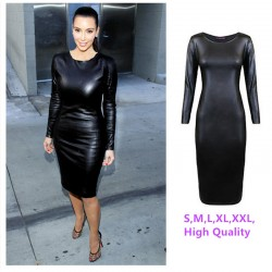 M-XXL-NEW-2016-Women-Long-Sleeve-Party-Dress-Leather-Look-Bodycon-Dress-Sexy-Club-Dress-1