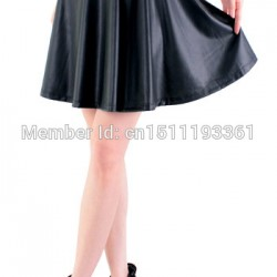 free-shipping-new-high-waist-faux-leather-skater-flare-skirt-mini-skirt-above-knee-solid-color-1