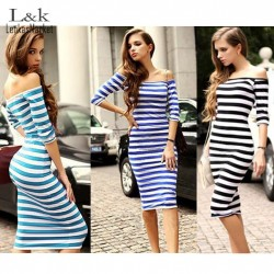 2016-Women-Summer-Dress-Lady-Sexy-Half-Sleeve-Off-Shoulder-Stripe-Stretch-Bodycon-Party-Dresses-Cotton-1