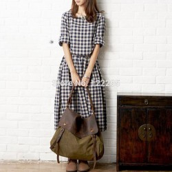 Spring-new-models-Women-Girls-College-Wind-retro-loose-cotton-long-sleeved-plaid-dress-summer-dress-1