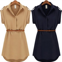 With-Belt-2015-Women-Summer-Dress-Shirt-V-Neck-Short-A-Line-Solid-Plus-Size-Chiffon-1