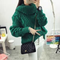 Fashion-women-s-new-Autumn-winter-Turtleneck-sweater-big-size-Hemp-flowers-pattern-solid-color-Loose-1