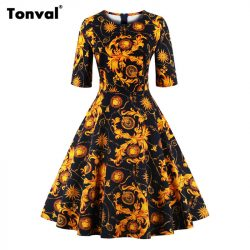 Tonval-Half-Sleeve-Vintage-Tunic-Dress-Women-Gorgeous-Floral-Retro-Audrey-Hepburn-Style-Plus-Size-Autumn-1