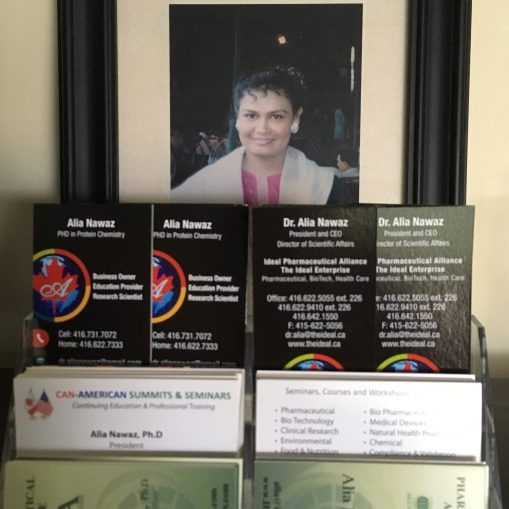 Dr. Alia's business cards