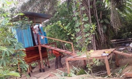 construction of combo latrine and bathing platform