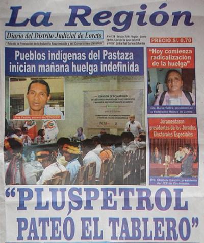 La Región diario en Loreto publica la noticia en primera plana