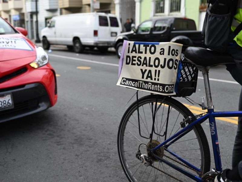 Protest sign on a bicycle.