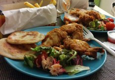 Fried chicken (takeaway), smoked salmon salad (Virgin Rail) and green onion biscuits.