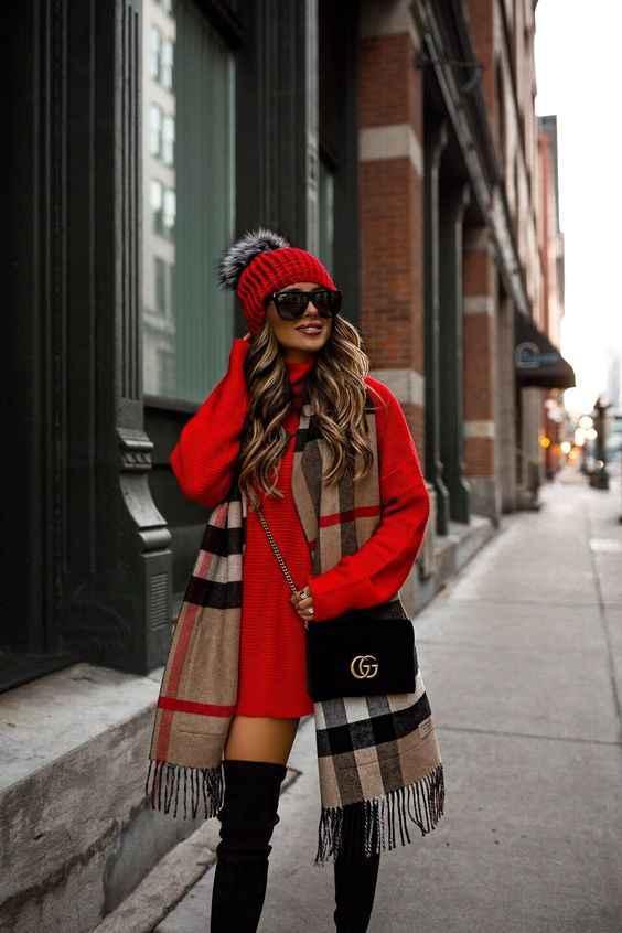 С чем носить красный свитер: стильные и яркие идеи (+40 ...