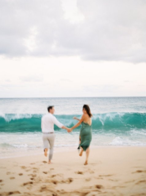 Stephanie and William - Cozy Oceanside Engagement Session at Lanai Lookout - Hawaii and destination fine art wedding photographer Alice Ahn