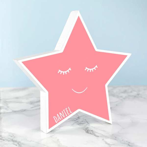 baby name PERSONALISED SMILING pink STAR KEEPSAKE