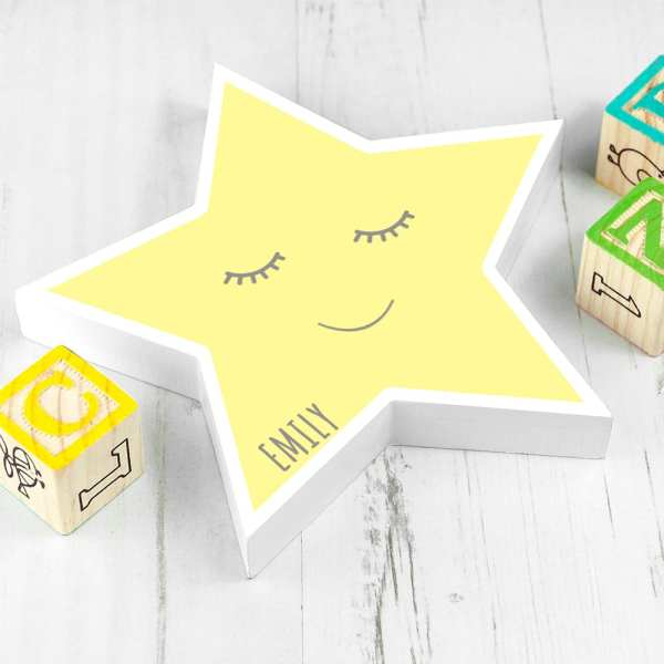 kids bedroom PERSONALISED SMILING STAR KEEPSAKE