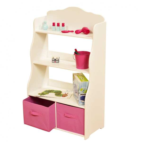 WHITE BOOKSHELF WITH PINK STORAGE BINS