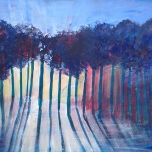 Sun through trees acrylic live painting worship