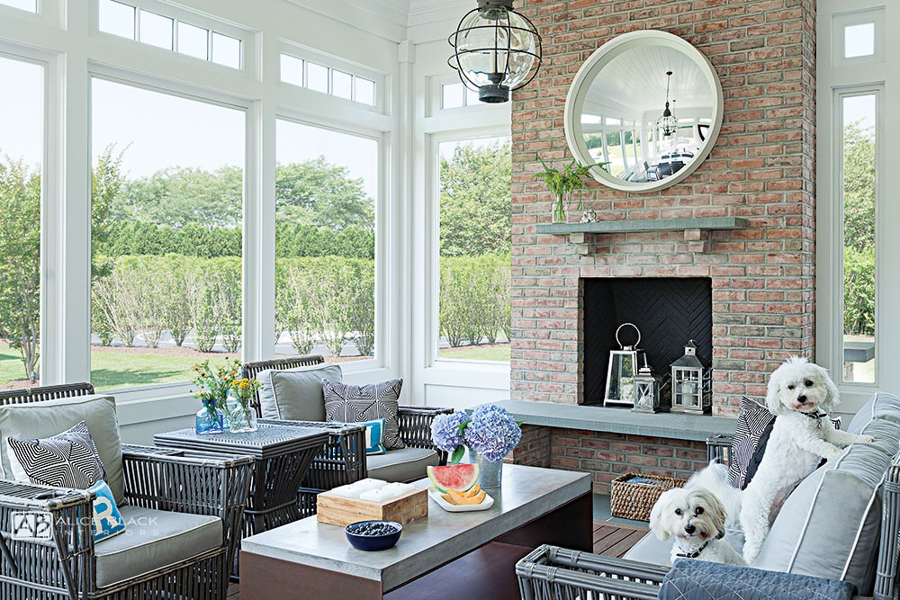 Southampton pooches on the patio - interior design by Alice Black Interiors