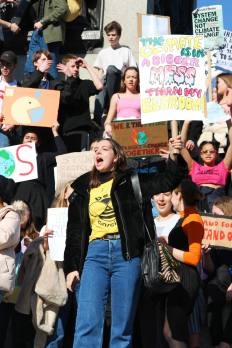 Children protesting against climate change in Trafalgar Square