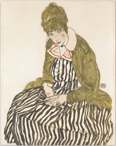egon-schiele-edith-with-striped-dress-sitting-1915-graphite-brush-and-gouache-on-paper-402-x-508-mm-leopole-museum-vienna