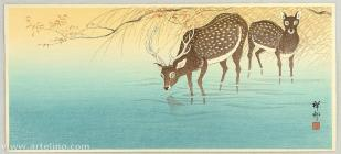 shoson_ohara-no_series-deer_in_shallow_water-00041410-080605-f12