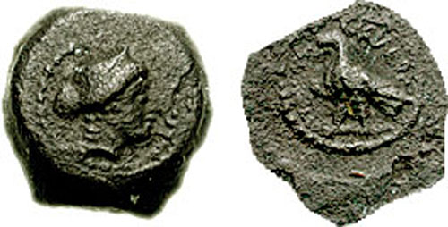 Cleopatra VII Philopator AE Chalkous-Sixteenth Unit. Paphos on Cyprus mint, 51-30 BC. Diademed idealized head right / Eagle standing left on thunderbolt