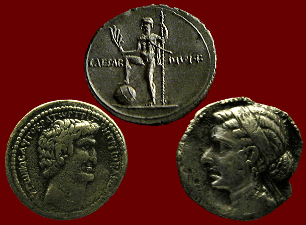 Minted Coins depicting Cleopatra, Mark Antony and Augustus-Octavian