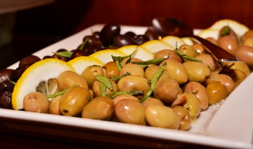 Mix of Lebanese (green) and Greek (Kalamata) olives, from Spectrum on One, Fairmont Dubai