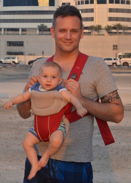 Baby wearing for a father is extremely rare here in Dubai. But not for our baby!