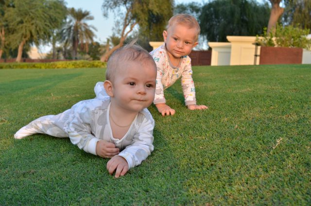 Playtime on the grass at Emirates Golf Club, Dubai. Kingsley is 11 months of age