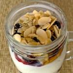 Yogurt Parfait with berries and almonds