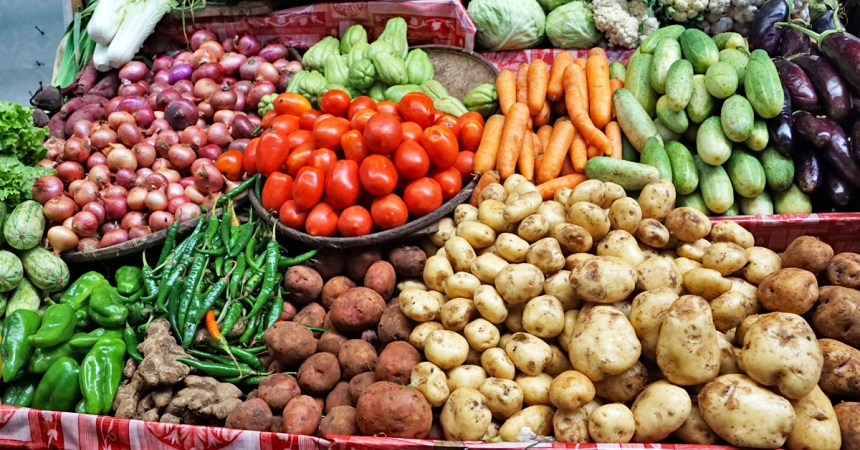 fresh fruits and vegetables at a farmers' market