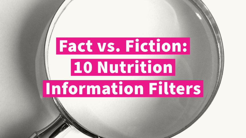 Picture of a magnifying glass with the words: Fact vs. Fiction: 10 Nutrition Information Filters.