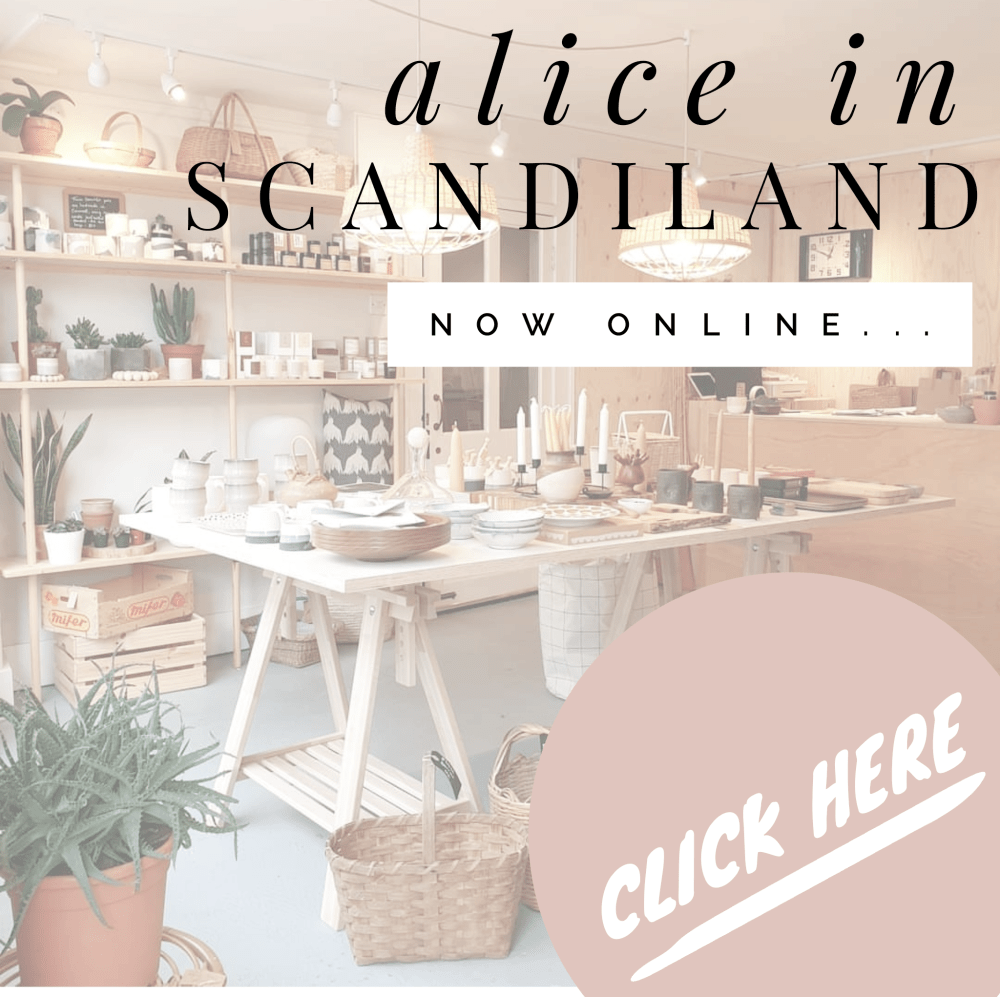 Image announcing that the Alice in Scandiland Shop is now online.