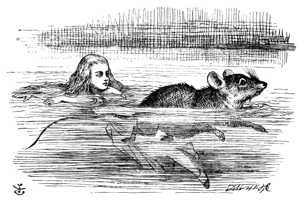 Mouse and Alice in Wonderland swim in the pool of tears