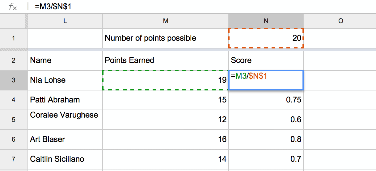 Google Spreadsheets Absolute Cell Referencing Teacher Tech