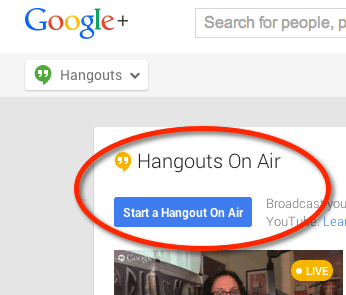 Choose Start a Hangout On Air