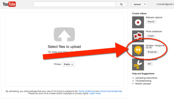 YouTube go to upload and choose broadcast