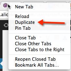 duplicate a tab