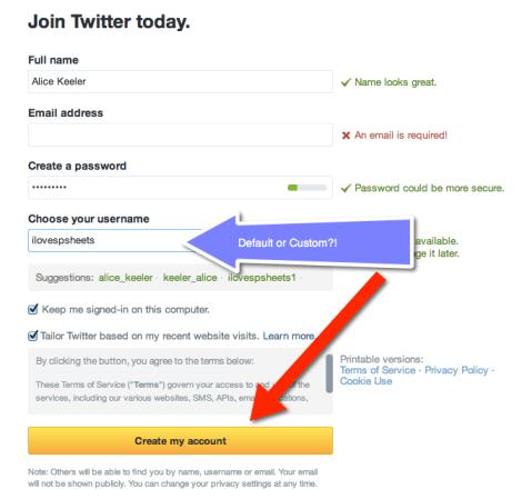 create my account