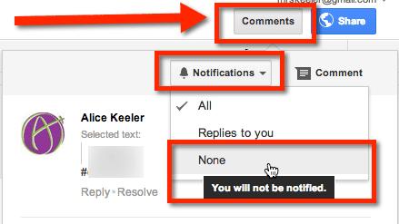 Google Docs Limit Email Notifications