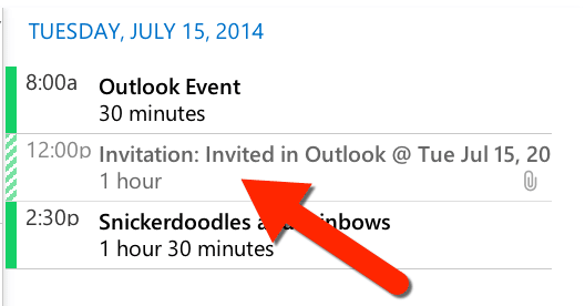 invited in outlook