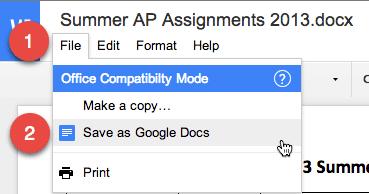 Save as Google Docs