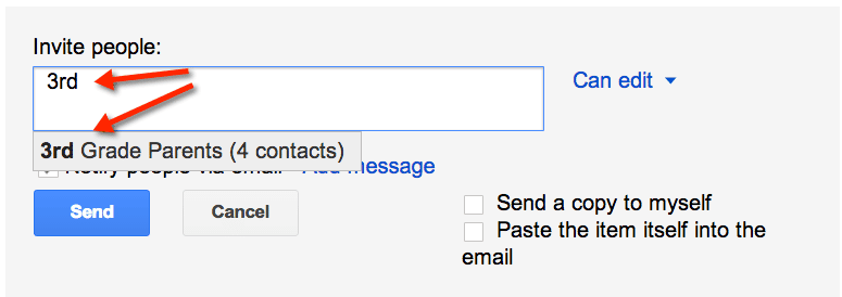 invite a group in a google doc
