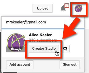 Alice Keeler YouTube Creative Studio Video Manager