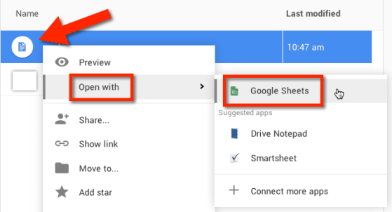 right click on file in google drive