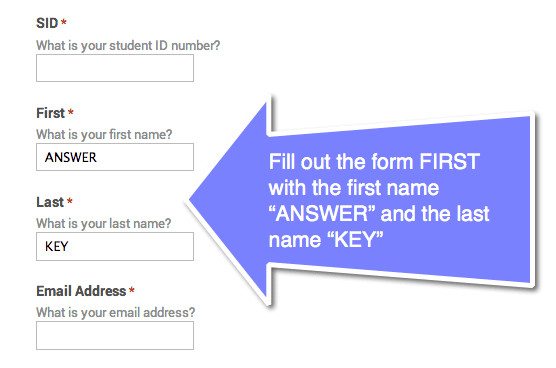 google forms answer key